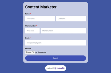 Screenshot of an example content marketer application form