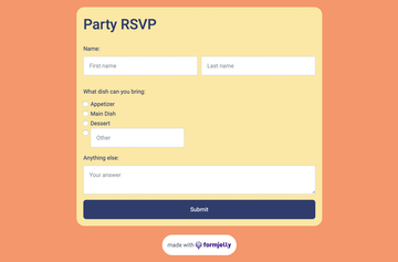 Screenshot of a Party RSVP form